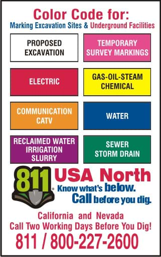 Color Codes for Marking Excavation Sites and Underground Facilities